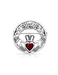Bling Jewelry 925 Silver Celtic Claddagh Brooch Simulated Ruby Heart CZ