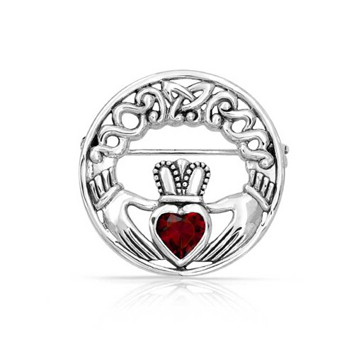(Celtic Claddagh Round Circle Brooch Pin Red Heart Shaped Cubic Zirconia 925 Sterling Silver)