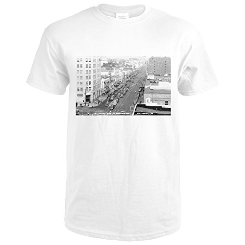 Hollywood, California - Hollywood Blvd and Highland Ave Photograph (Premium White T-Shirt - California Blvd Hollywood