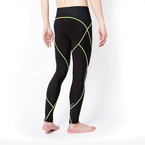 USTAR Men's Pro Compression Long Leggings Baselayer Running Training Sports Cool Dry 4Way-Stretch Moisture-Wicking (S, Black/Green)