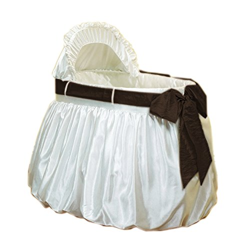Baby Doll Bedding Shantung Bubble and Crushed Belt Bassinet Set, (Shantung Chocolate)