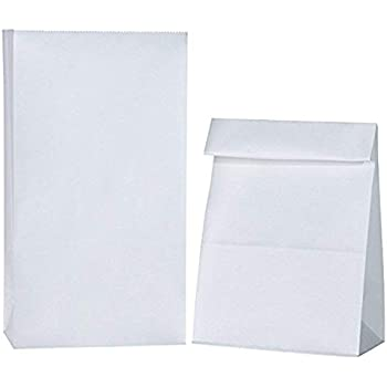 BagDream #4 5x2.95x9.45 100pcs Paper Lunch Bags Durable White Kraft Paper Bags, Snack Bags, Bread Bag, 100% Recycled Kraft Paper