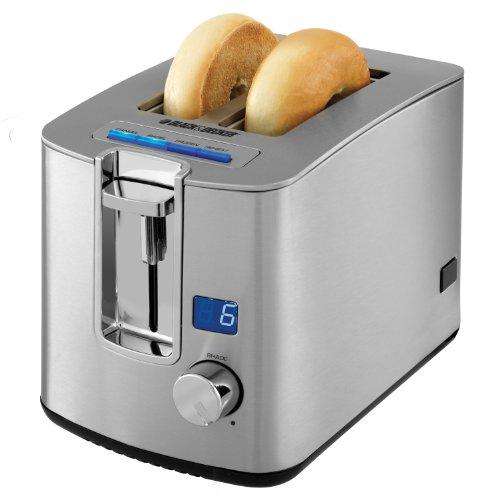 BLACK+DECKER TR1280S 2-Slice Toaster, Bagel Toaster, Stainless Steel