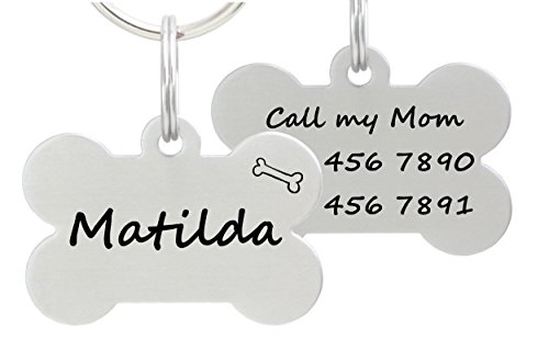 io tags Double Sided Laser Etched Stainless Steel Pet ID Tag for Dog Engraved and Personalized Bone Shape (Bone)