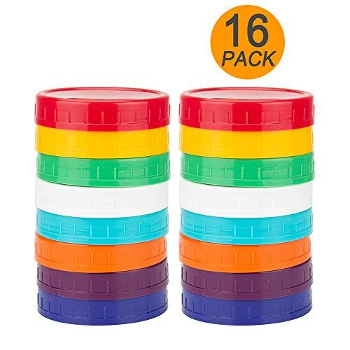 16 Pack Colored Plastic Mason Jar Lids for Regular Mouth Ball Mason Jars by WISH -