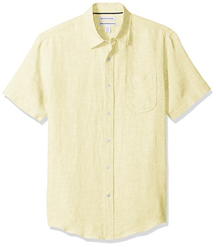 Amazon Essentials Men's Slim-Fit Short-Sleeve Linen Shirt, Yellow, Medium