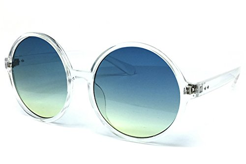 O2 Eyewear 6802 Oversized Hippie Horn Rimmed Round Clear Frame UV400 Sunglasses (CLEAR, - Round Sunglasses Clear Frame