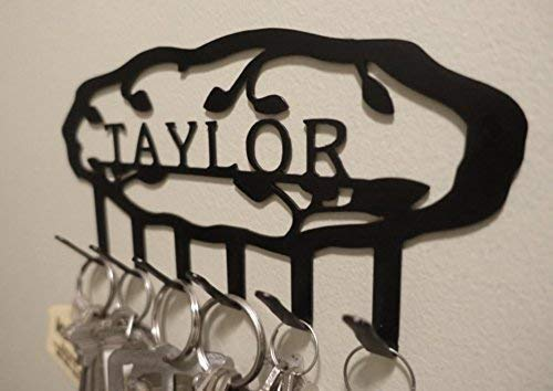 Personalized Vine Key Hook (6 Hooks) - Handmade in America - Power Coated Steel with 20% Gloss Black Finish - Wall Mountable Key Rack - Organize Your Home & Car Keys in Style