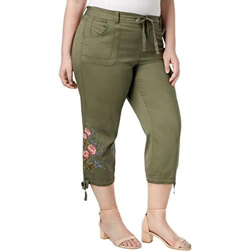 Style & Co. Womens Plus Embroidered Mid Rise Capri Pants Green 18W