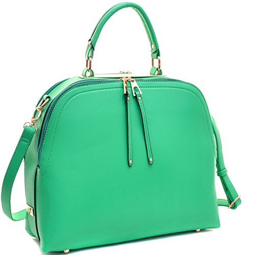 Shoulder Shoulder Handbag with 2730 Satchel Domed Classic Bag Work 2 Buffalo Dasein Strap Bag Women's Buffalo PU Green Leather vqxORpw
