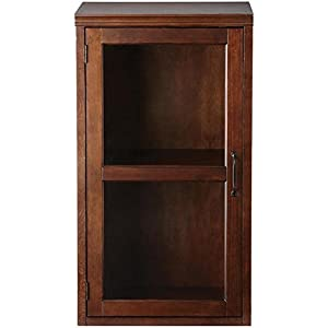 """Quentin Modular Bar Closed Hutch With Reversible Glass Door, 36""""Hx20""""Wx15.75""""D, SMOKY BROWN"""