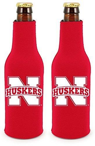 NCAA College 2014 Team Logo Color Bottle Suit Holder Holder Koozie Cooler 2-Pack (Nebraska (Nebraska Team Color)