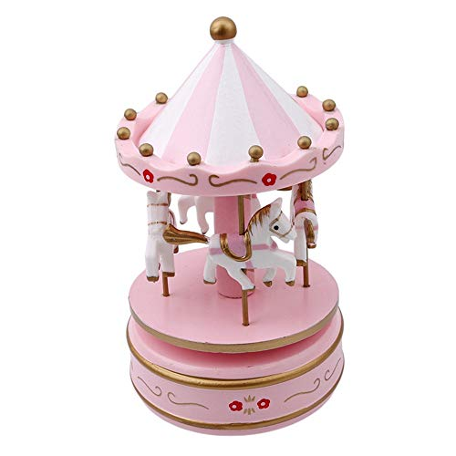 (SHANYYH Merry-Go-Round Wooden Music Box Decor Christmas Wedding Birthday Gift Wedding Decoration Carousel Horse Music Box)