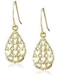 10k Gold Earrings with Heart Cutouts