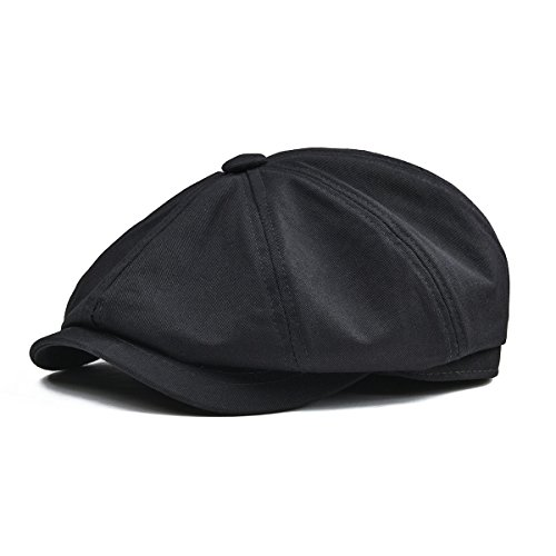 BOTVELA Men's 8 Piece Newsboy Flat Cap 100% Cotton Gatsby Ivy Golf Cabbie Hat (Black, S) ()