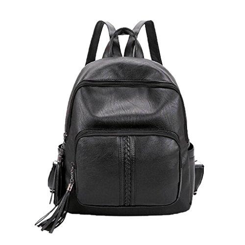 Women Fashion Leather Tassel Backpack Travel Shoulder Bag White - 9