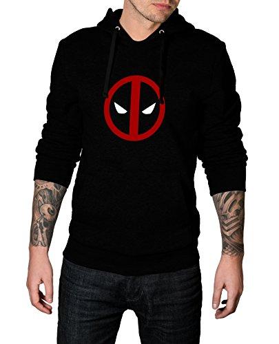 Mens Black Deadpool 2 Hoodie - Mens Pullover Hoodie | Deadpool Logo, (Deadpool Halloween Funny)