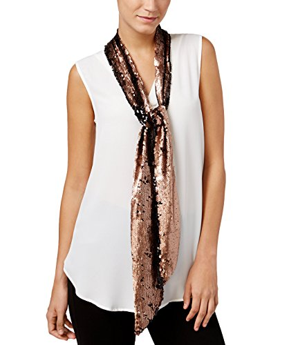 INC International Concepts Women's Reversible Sequined Skinny Scarf, (Scarf Bronze)