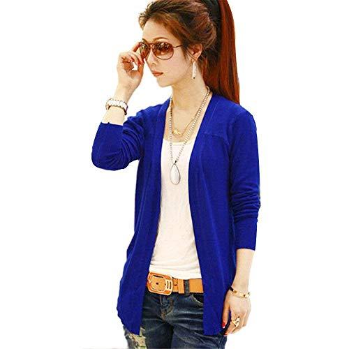 Manica Women Giacca Colore Skinny Moda Blu Maglia Comodo Lunga Outerwear Jacket Primaverile Scuro Donna Base Giovane Eleganti Autunno Puro Cardigan A Giaccone FdwHnqa