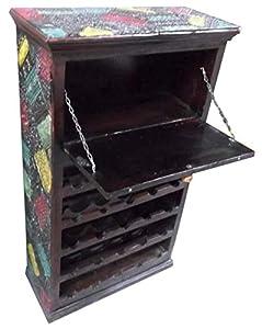 Etnicart - Armadio Porta Bottiglie con ceramiche colorate-69x120x31-LEGNO MASSELLO