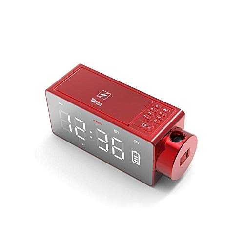 Htterino Projection Alarm Clock Bluetooth Speaker with Wireless Charging DIY Ringtone,One-Click Snooze,Bluetooth Call Speaker,FM Radio AUX, TF Card Input(Color:Red) -