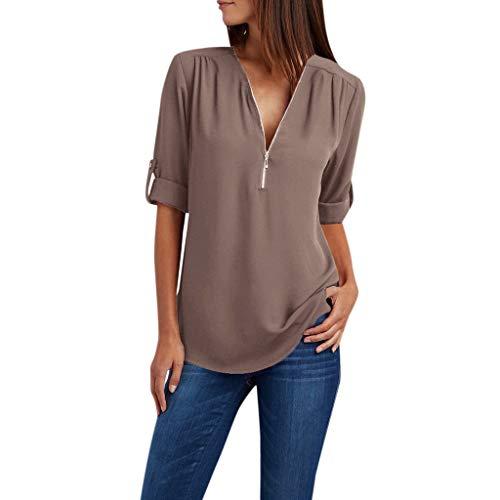 - TUSANG Women Tees Ladies Zipper Button Long Sleeves Loose Chiffon Shirt Clothing Solid Color Casual Comfy Tunic(Coffee,US-18/CN-5XL)