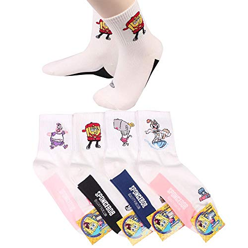 Women's Sponge Bob Square Pants Animation Cartoon Character Mr. Krabs, Patrick Star, Sandy Cheeks, Squidward Tentacles, SpongeBob SquarePants Crew Socks with Pouch Pack of 4 Pairs]()