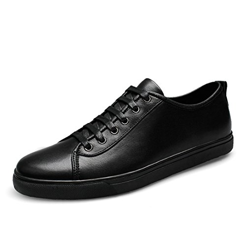 Minitoo Boys Mens Round Toe Lace-Up Sport Fashion Sneakers Black
