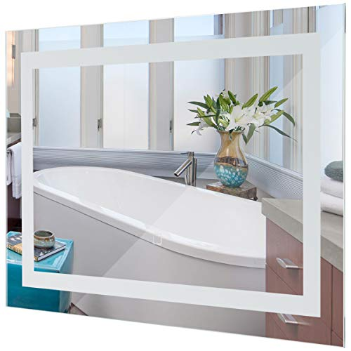 Hanging Vanity Bathroom (Tangkula LED Bathroom Mirror Wall-Mounted Makeup Vanity Mirror Led Light Illuminated Lightning Bath Rectangle Hanging Frosted Polished Edge)