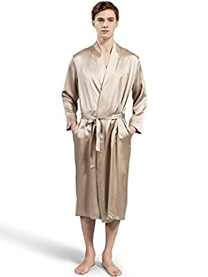 ElleSilk Men's Silk Robe, 100% 22 Momme Pure Silk Sleepwear for Men