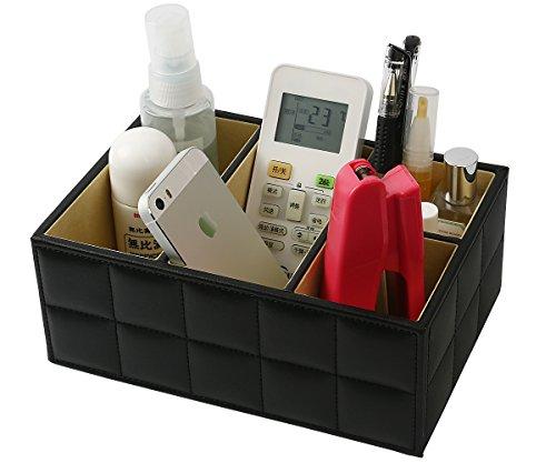 Desktop Organizer, MCIRCO Desk Supplies Organizer Caddy Office Supplies Remote Control Holder PU Leather 4 Compartments Teacher Supplies Pencil Holder Desktop Mail Organizer (Black) by Mcirco