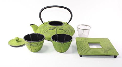 Japanese Antique 27 Fl Oz Green Dragonfly Cast Iron Teapot Tetsubin with Infuser Tea Set with Trivet