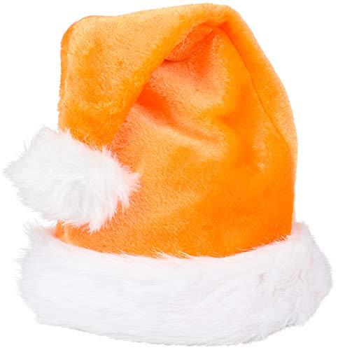 Christmas Orange Plush Faux Fur Trim Santa Hat Costume Accessory -