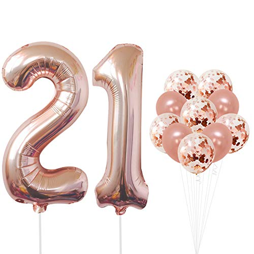 21 Number Balloons, Rose Gold - 21 Birthday Decorations | 21st Birthday Balloons Foil Mylar Rose Gold Balloons for Rose Gold Party Supplies | 21 Birthday Party Decorations with 32 Foot Balloons String