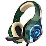 Gaming Headset for PS4 Xbox on PC, Beexcellent Stereo Sound Headphones with Noise Reduction Mic and LED Light (Camo)