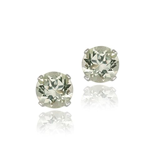 Sterling Silver 1.5Ct Green Amethyst Stud Earrings 6MM