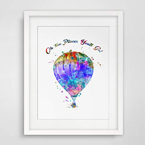 Watercolor Hot Air Balloon Art Print Watercolor Oh The Places You'll Go Wall Hanging Hot-air Balloon Art Paper Balloon Poster Watercolor Wall Decor 8x10 inch No Framed