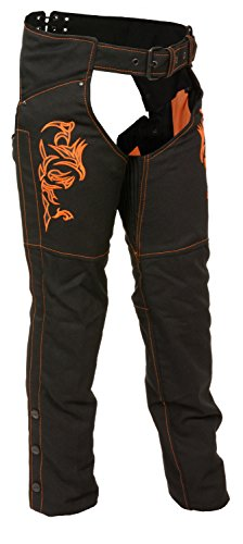 Milwaukee Leather Nylon Womens Chaps Womens Textile Chap Tribal Embroidery / Reflective Detail - 4Xl - Orange (Chaps Stretch Womens)