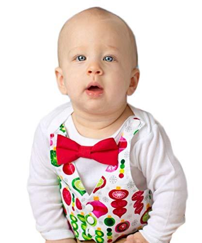 (Noah's Boytique Baby Boy Christmas Vest Outfit Dressy with Bow Tie Ornaments Santa Pictures Newborn)