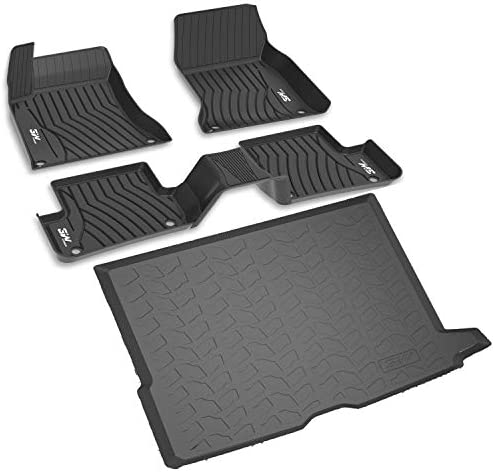 3W Floor Mats and Cargo Liner Compatible for Benz GLC Floor and Trunk 2016-2021, TPE All Weather Custom Fit Floor Liner and Cargo Mats 1st and2nd Rows Car Mats and Trunk Liner Black