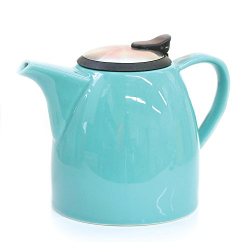 Tealyra Drago Ceramic Teapot with Stainless Steel Lid and Extra-Fine Infuser - 1.1L / 37oz - Turquoise