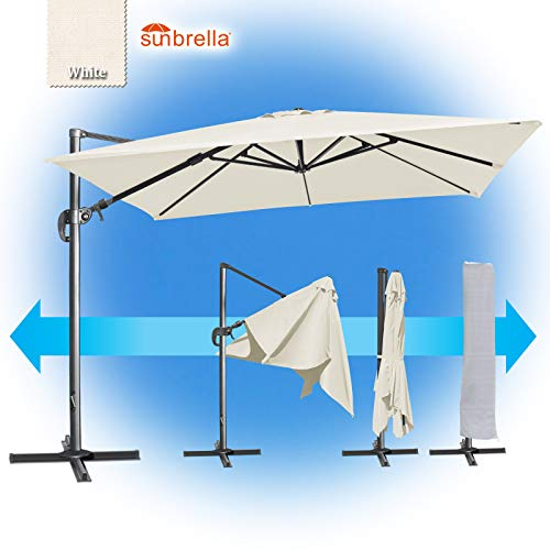 BenefitUSA 10'x10' Deluxe Sunbrella Patio Umbrella Off-Set Hanging Roma Umbrella Tilt & 360 Rotation Patio Heavyduty Outdoor Sunshade Cantilever Crank(Steel Cross Base is Included) (White)