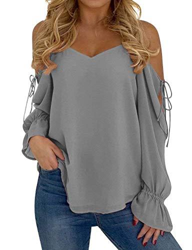 Manches Elgante Automne Haut Sangle Tops Longues sans Loisir grey Fashion Unie 1 Blouse Sling Shirt Femme Chic Printemps Couleur Mousseline Bretelles Large Mode UHHEpqx6