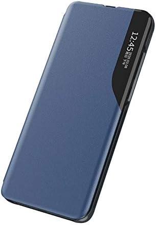 KERUN spiegel zwak up case voor xiaomi mi 11 Lite 4G5G Windows Smart View Filp Cover met opvouwbare standaard premium lederen telefoon shellblauw