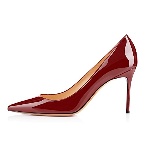 For Comfort High Heel Office Pumps 8cm Patry Womens Dress Pumps Wedding Wine Eldof awpq8Bq