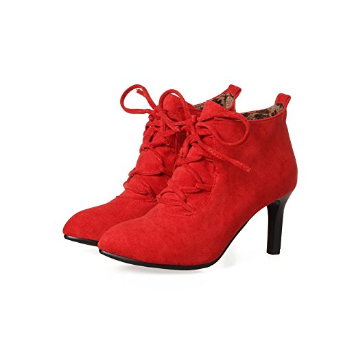 AdeeSu Rojo para Ante Mujer Alto SXC02447 Botas de rCwZprq