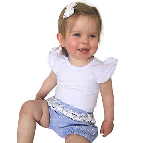G-real Newborn Infant Baby Girls Ruffle Sleeve Solid Candy Romper Tops for 6-24M (White, 12M) 16 Flutter Sleeved Tee