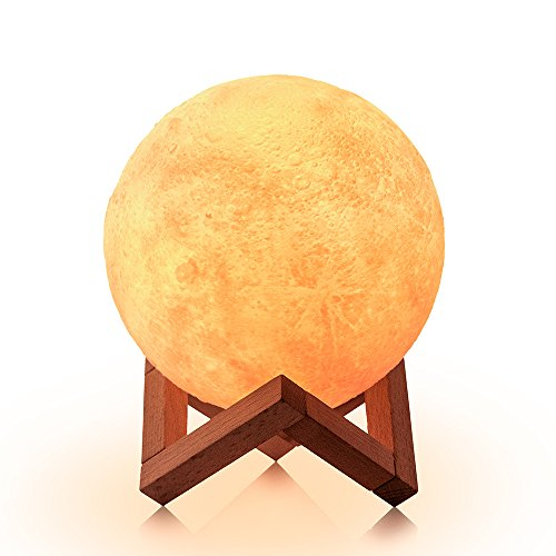 LOFTEK Moon lamp, 3D Printing 5.9 inch Full Seamless Moon Lights with Touch Control and USB Recharging, Global Moon Decor & Magical Night Lights As Best Gifts Choice for Kids, Lovers (Warm & Cool) ()