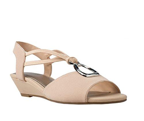 Romance Sandal - Impo Romance Stretch Wedge Sandal, Buff Crepe Stretch/Elastic/Ornament, 10 B(M) US