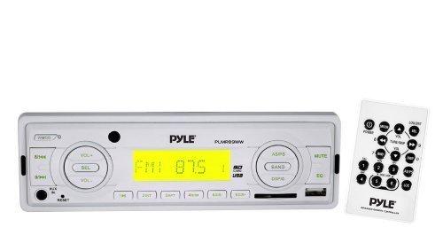 Pyle Marine Radio Receiver, Speaker and Cable Package - PLMR89WW AM/FM-MPX IN-Dash Marine MP3 Player/Weatherband/USB & SD, MMC Memory Card Function - 2x PLMR60W 2 Pairs of 150 Watt 6.5'' 2 Way White Marine Waterproof Speakers - PLMRNT1 22